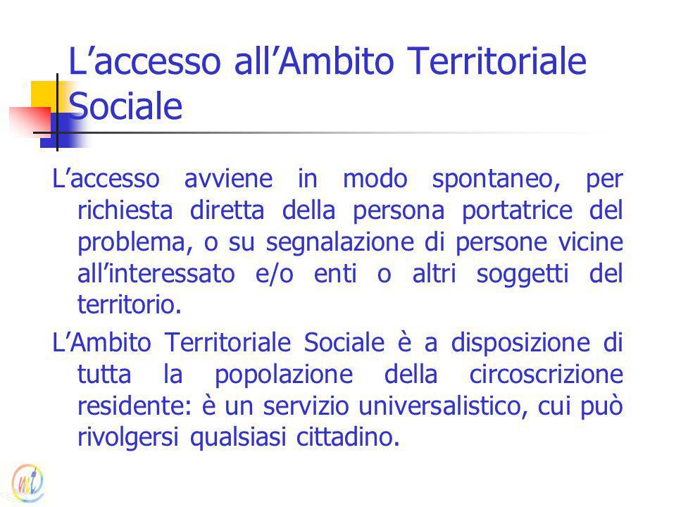 L'accesso all'Ambito Territoriale Sociale L'accesso avviene in modo spontaneo, per richiesta diretta della persona portatrice del problema, o su segna
