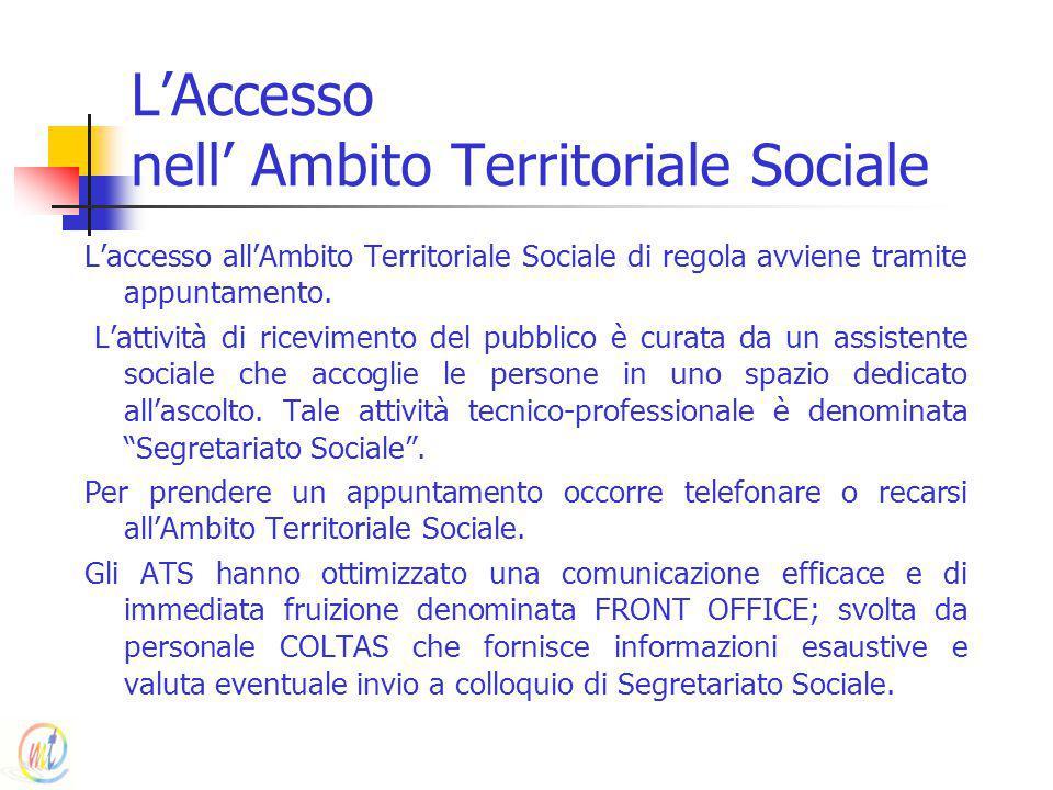 L'Accesso nell' Ambito Territoriale Sociale L'accesso all'Ambito Territoriale Sociale di regola avviene tramite appuntamento. L'attività di riceviment