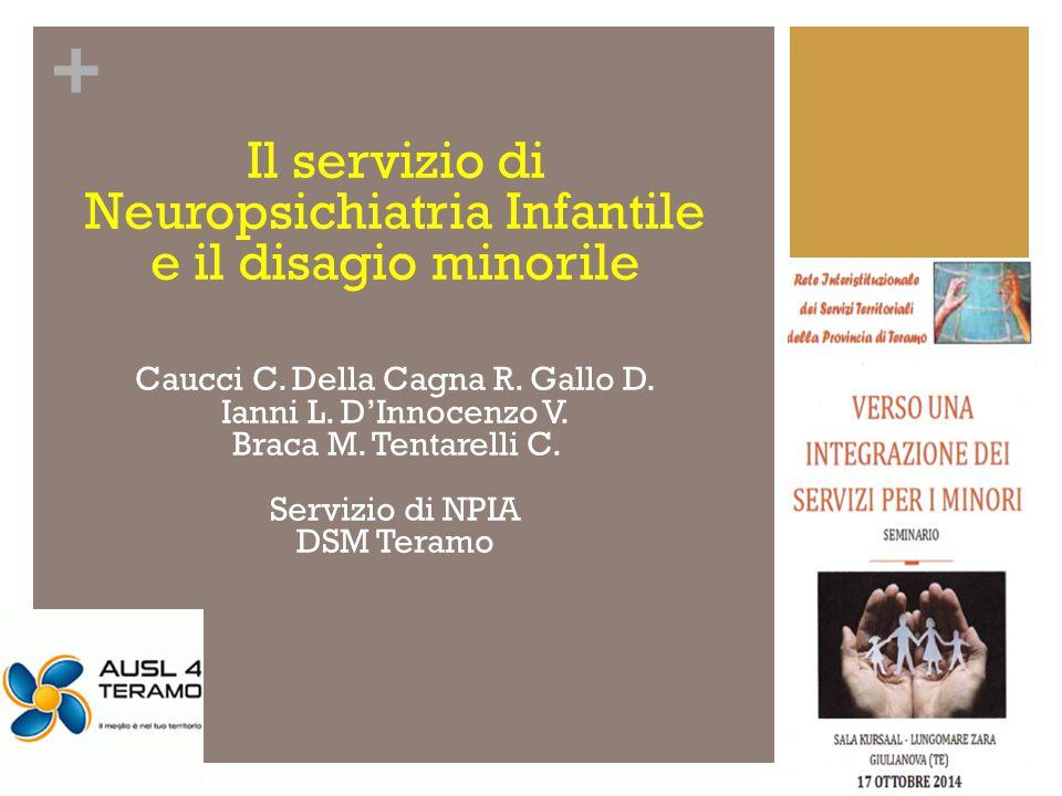 + Il servizio di Neuropsichiatria Infantile e il disagio minorile Caucci C. Della Cagna R. Gallo D. Ianni L. D'Innocenzo V. Braca M. Tentarelli C. Ser