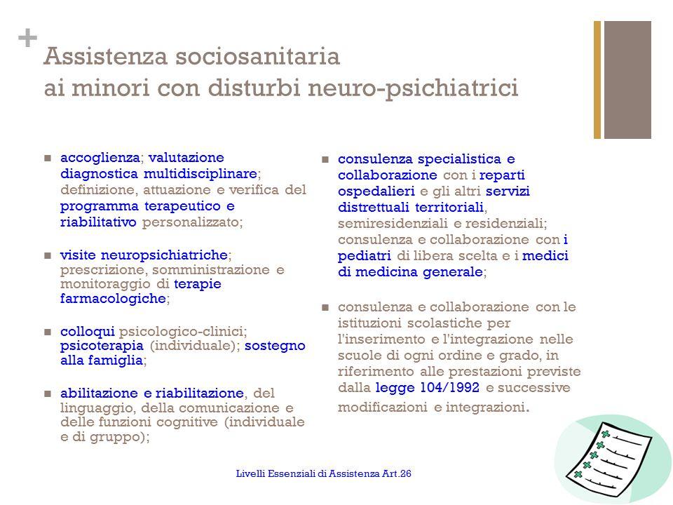+ Assistenza sociosanitaria ai minori con disturbi neuro-psichiatrici accoglienza; valutazione diagnostica multidisciplinare; definizione, attuazione