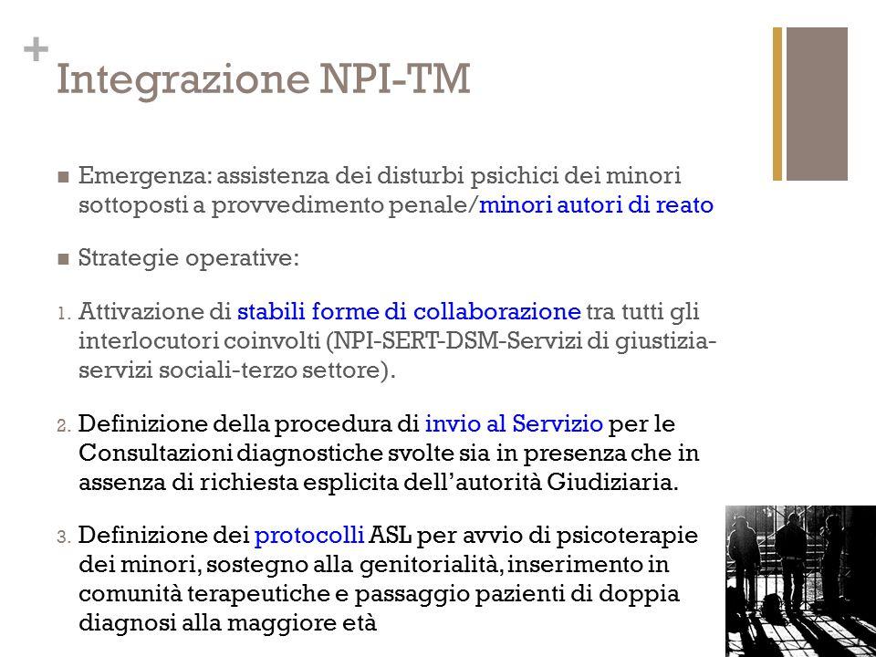 + Integrazione NPI-TM Emergenza: assistenza dei disturbi psichici dei minori sottoposti a provvedimento penale/minori autori di reato Strategie operat