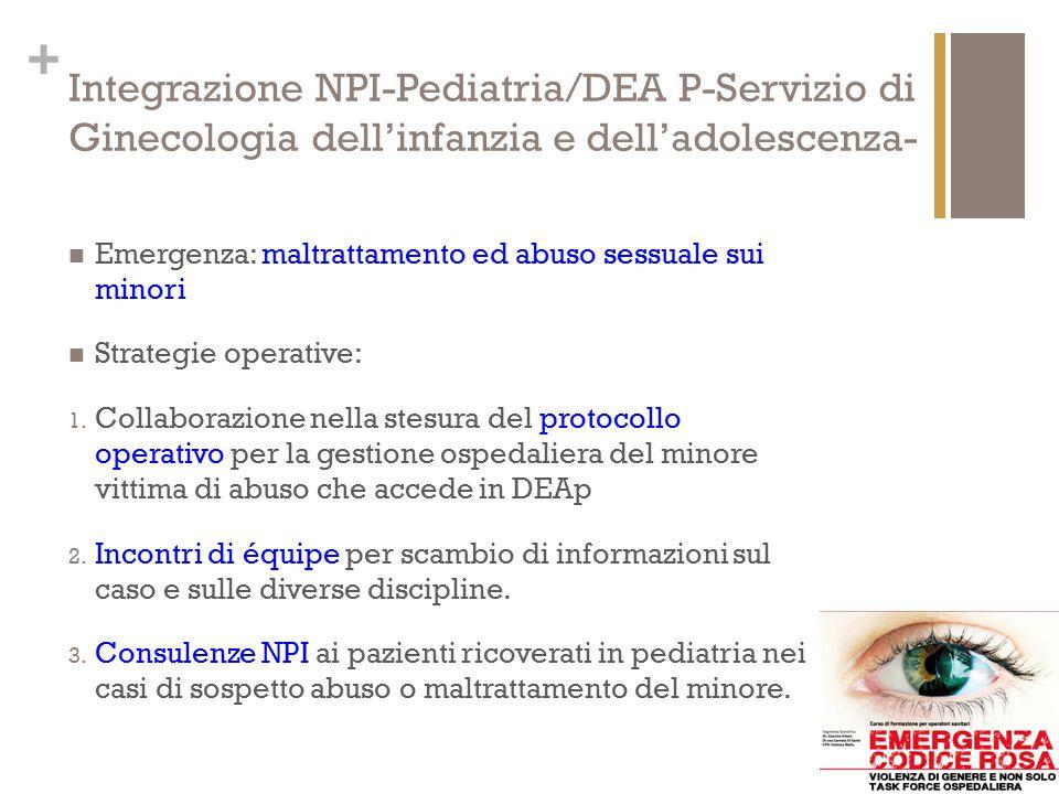 + Integrazione NPI-Pediatria/DEA P-Servizio di Ginecologia dell'infanzia e dell'adolescenza- Emergenza: maltrattamento ed abuso sessuale sui minori St