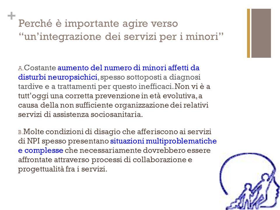 """+ Perché è importante agire verso """"un'integrazione dei servizi per i minori"""" A. Costante aumento del numero di minori affetti da disturbi neuropsichic"""