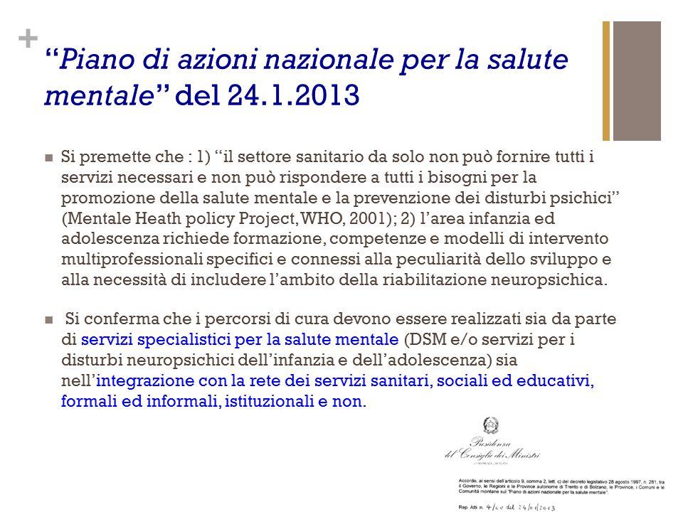 """+ """"Piano di azioni nazionale per la salute mentale"""" del 24.1.2013 Si premette che : 1) """"il settore sanitario da solo non può fornire tutti i servizi n"""