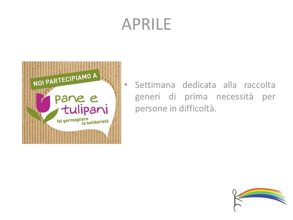 APRILE Settimana dedicata alla raccolta generi di prima necessità per persone in difficoltà.