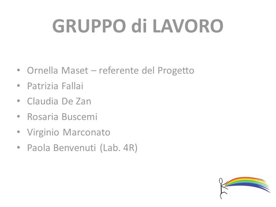 GRUPPO di LAVORO Ornella Maset – referente del Progetto Patrizia Fallai Claudia De Zan Rosaria Buscemi Virginio Marconato Paola Benvenuti (Lab. 4R)