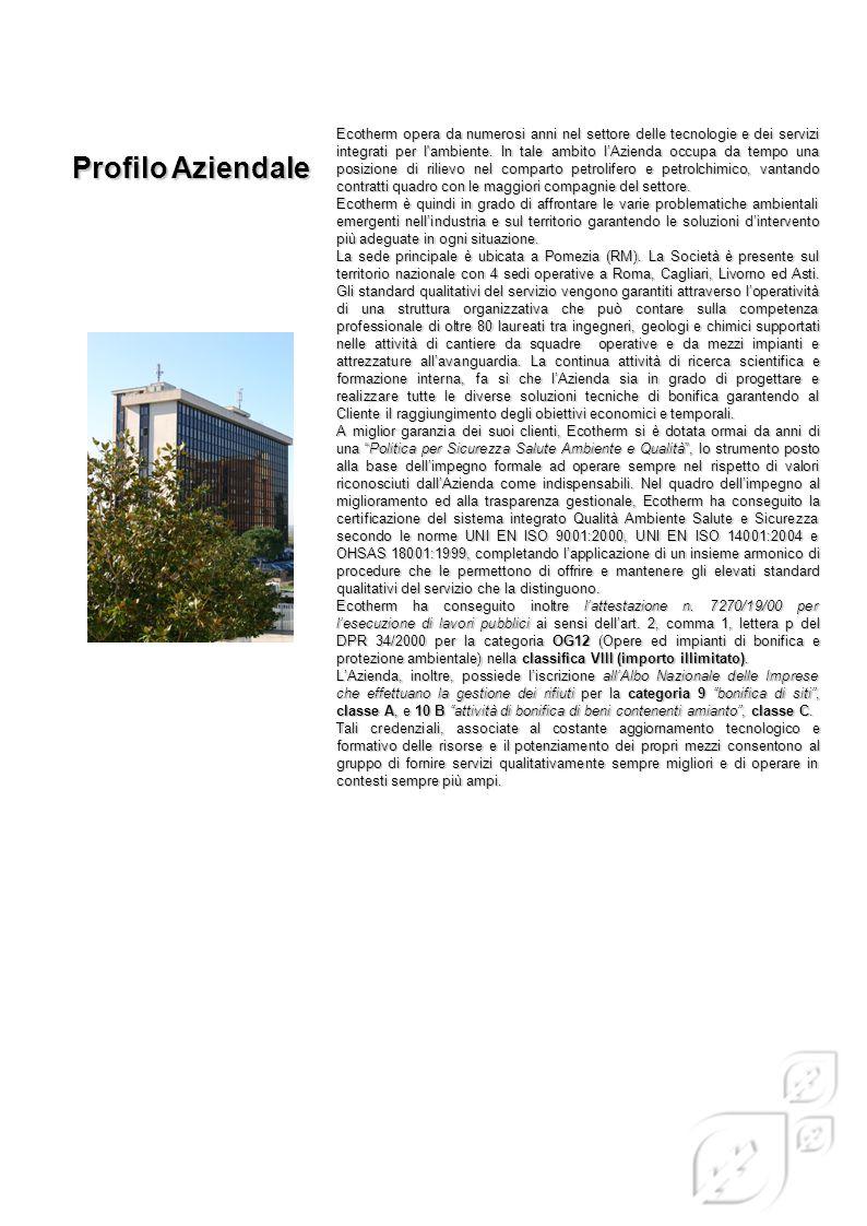 Ecotherm opera da numerosi anni nel settore delle tecnologie e dei servizi integrati per l'ambiente. In tale ambito l'Azienda occupa da tempo una posi