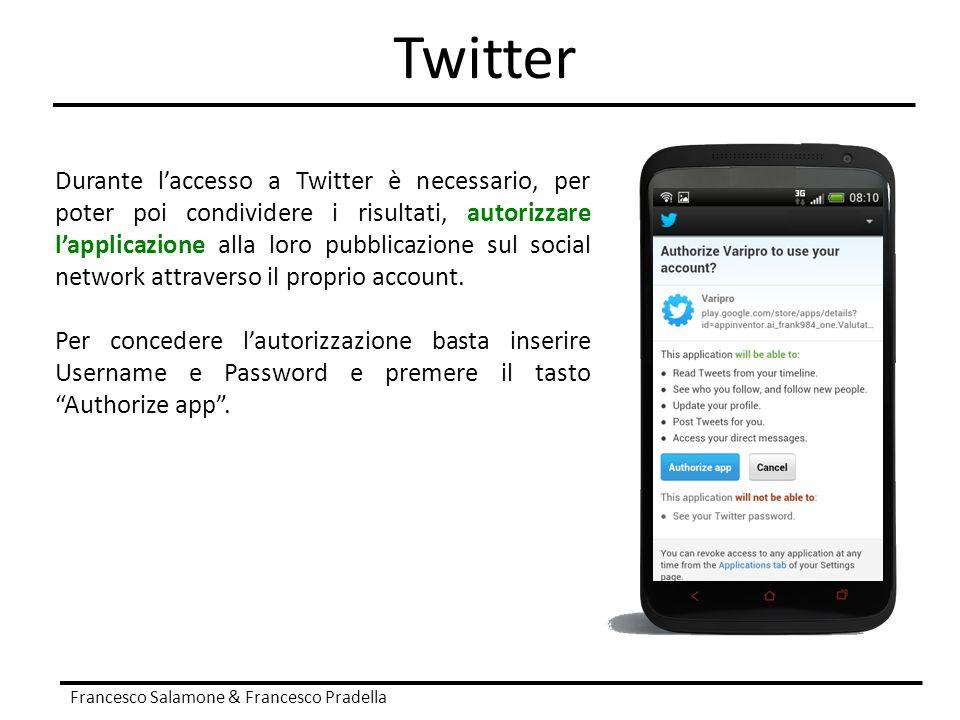Twitter Francesco Salamone & Francesco Pradella Durante l'accesso a Twitter è necessario, per poter poi condividere i risultati, autorizzare l'applica