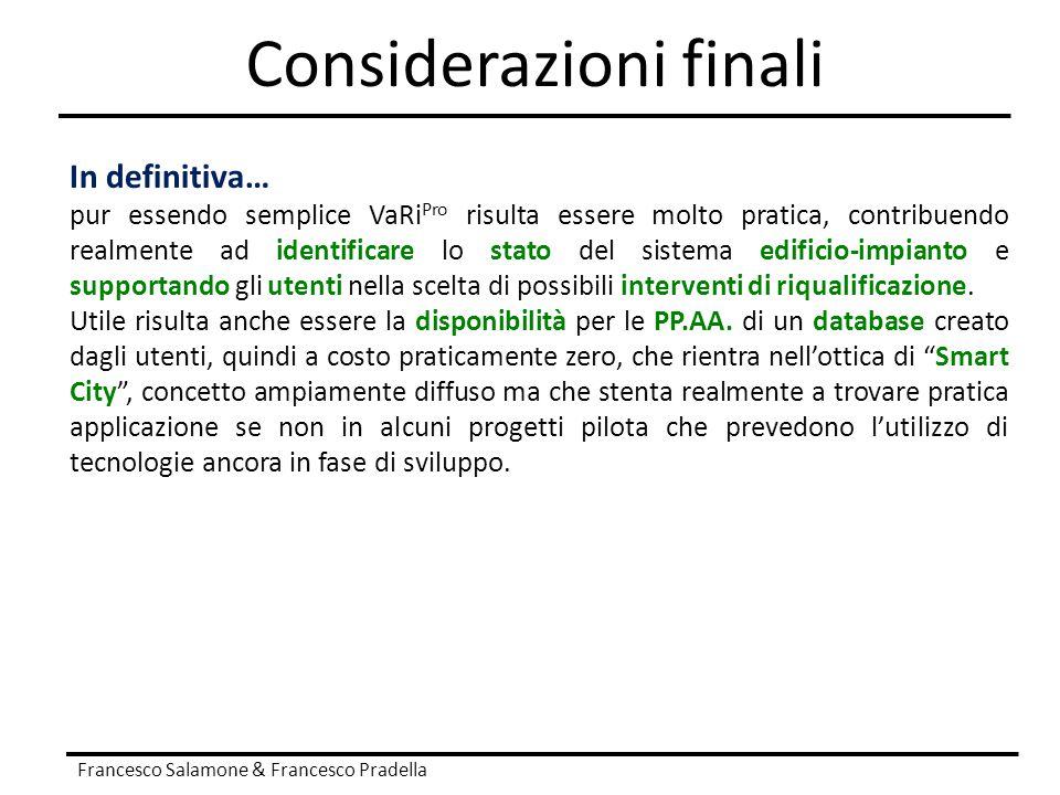 Considerazioni finali Francesco Salamone & Francesco Pradella In definitiva… pur essendo semplice VaRi Pro risulta essere molto pratica, contribuendo