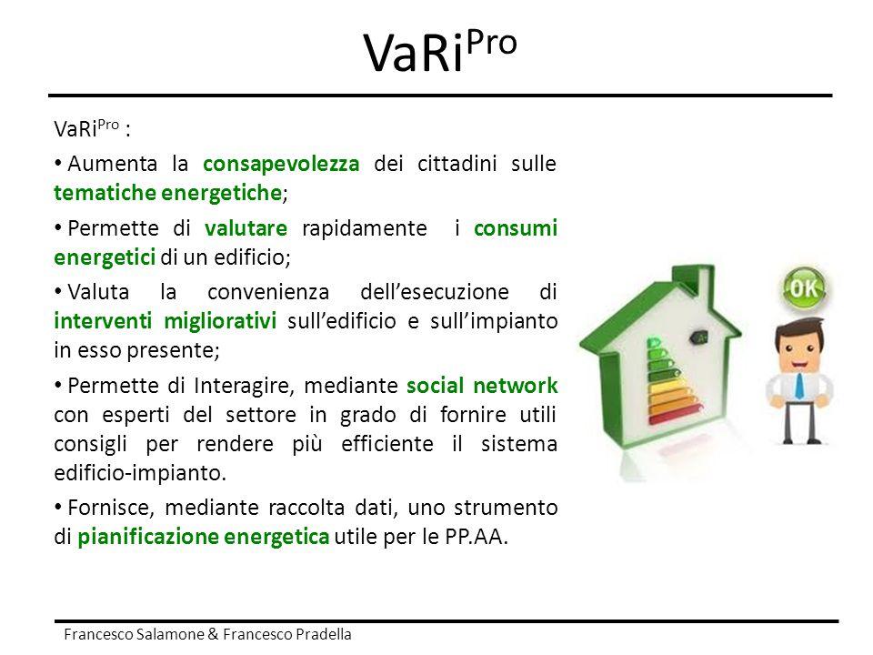 VaRi Pro Francesco Salamone & Francesco Pradella VaRi Pro : Aumenta la consapevolezza dei cittadini sulle tematiche energetiche; Permette di valutare