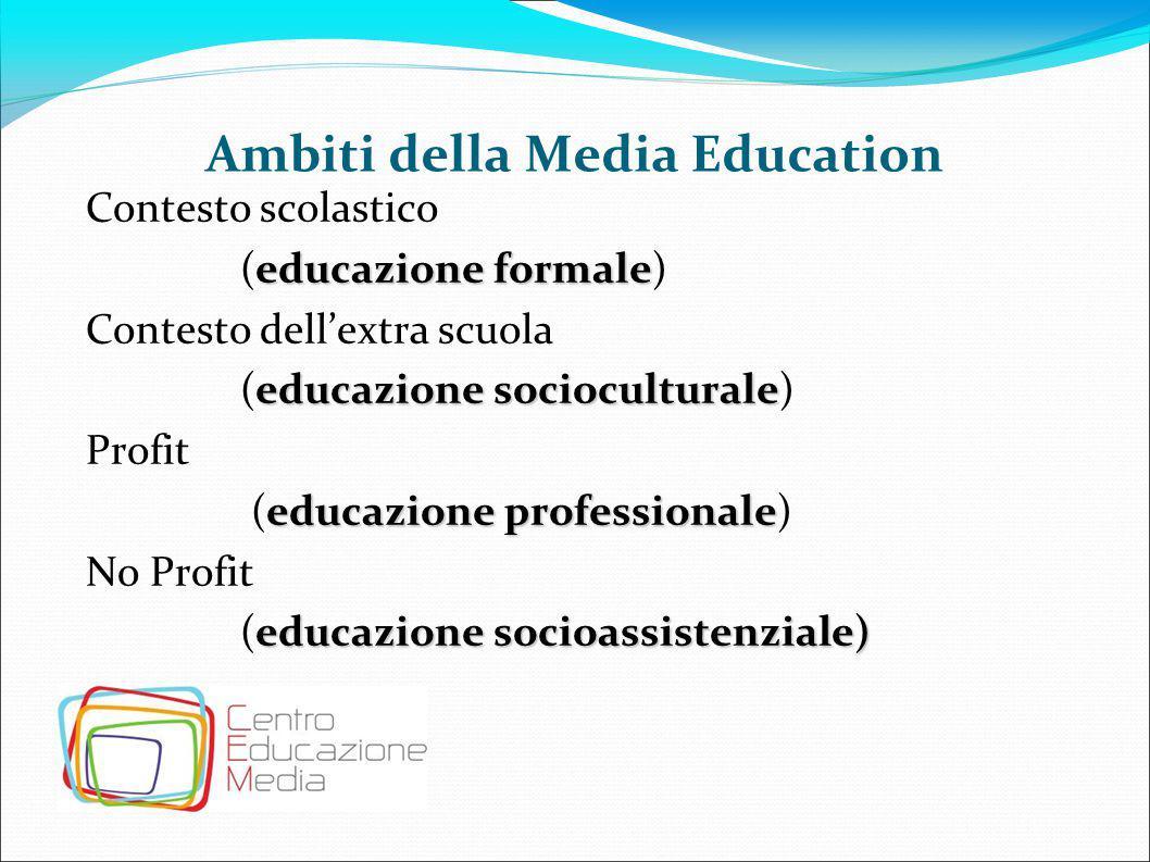 Ambiti della Media Education Contesto scolastico educazione formale (educazione formale) Contesto dell'extra scuola educazione socioculturale (educazi