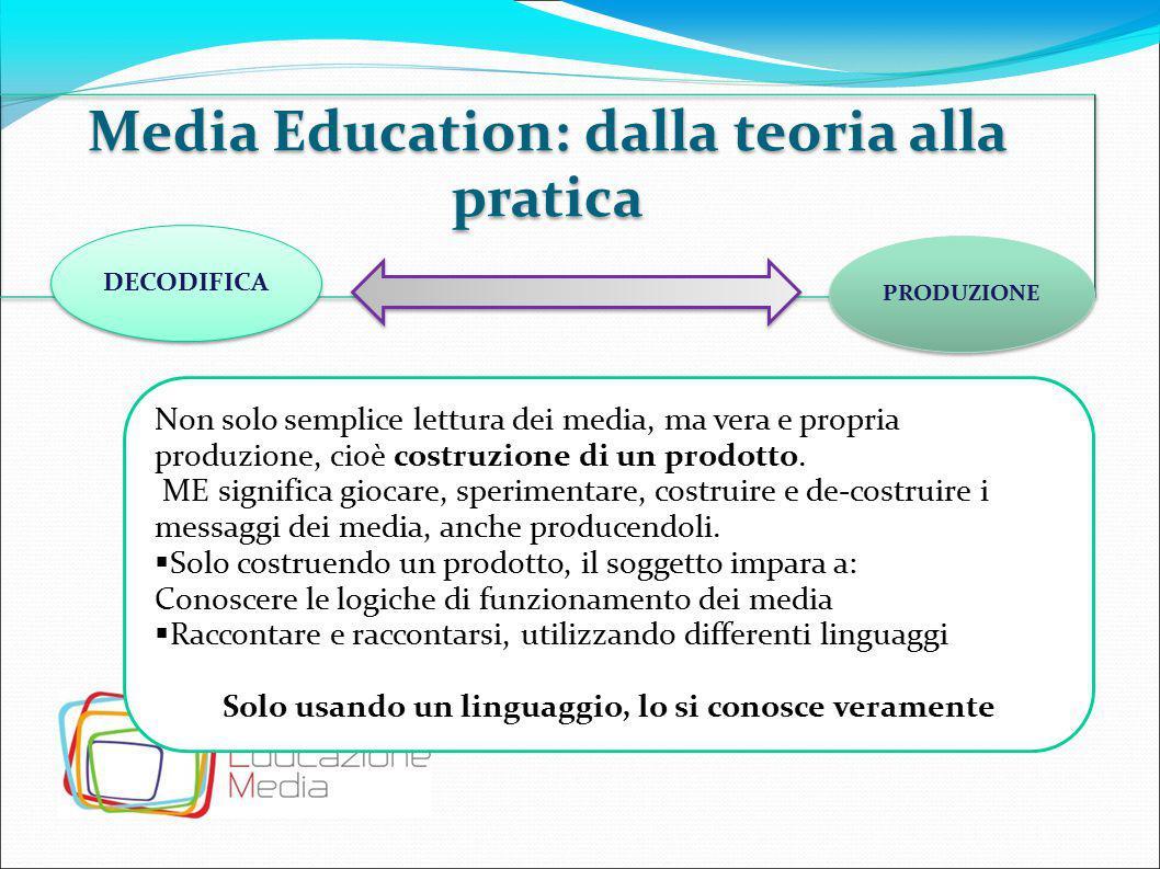 Media Education: dalla teoria alla pratica DECODIFICA PRODUZIONE Non solo semplice lettura dei media, ma vera e propria produzione, cioè costruzione d