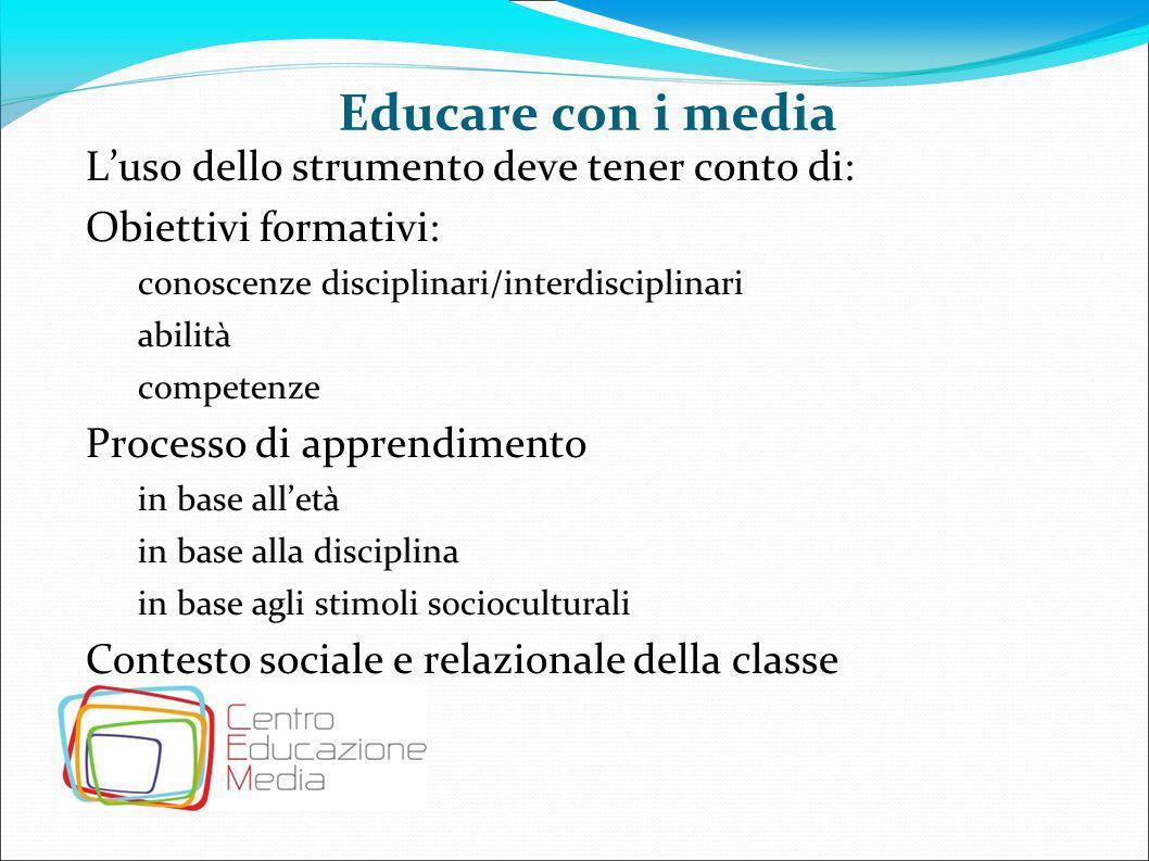 Educare con i media L'uso dello strumento deve tener conto di: Obiettivi formativi: conoscenze disciplinari/interdisciplinari abilità competenze Proce