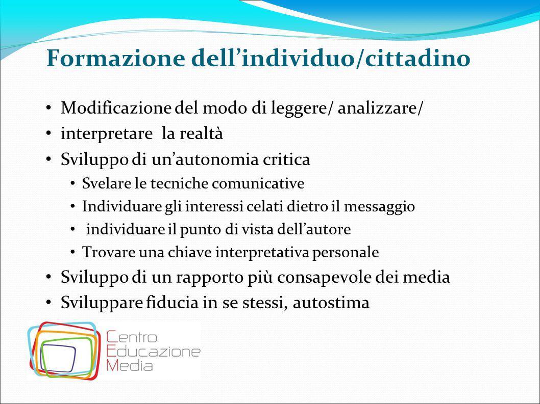 Educazione alla vita sociale Modificazione di atteggiamenti e comportamenti Modificazione di stili di vita e abitudini Sviluppare nuove visioni della realtà Modificazioni di modalità relazionali e comunicative Empowerment: maturazione di competenze mediali e comunicative che rendono attivo e protagonista il consumatore mediale