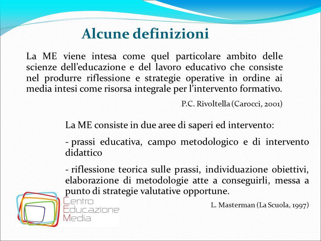 Alcune definizioni La ME viene intesa come quel particolare ambito delle scienze dell'educazione e del lavoro educativo che consiste nel produrre rifl