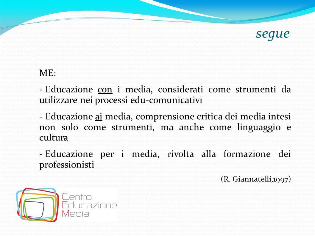 segue ME: - Educazione con i media, considerati come strumenti da utilizzare nei processi edu-comunicativi - Educazione ai media, comprensione critica