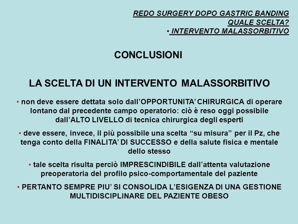 REDO SURGERY DOPO GASTRIC BANDING QUALE SCELTA? INTERVENTO MALASSORBITIVO CONCLUSIONI LA SCELTA DI UN INTERVENTO MALASSORBITIVO non deve essere dettat