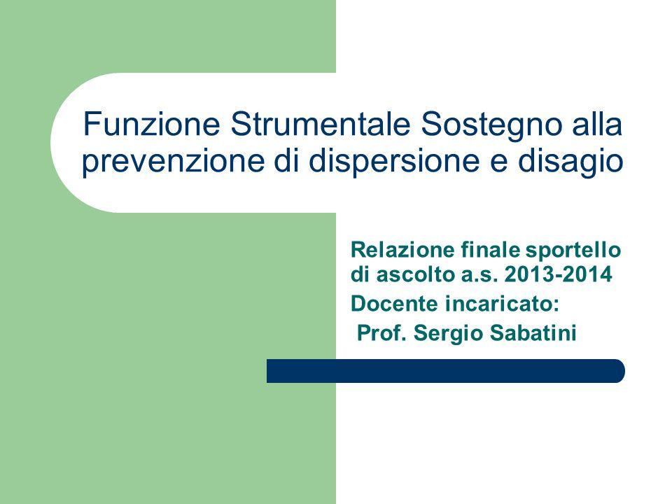 Funzione Strumentale Sostegno alla prevenzione di dispersione e disagio Relazione finale sportello di ascolto a.s. 2013-2014 Docente incaricato: Prof.