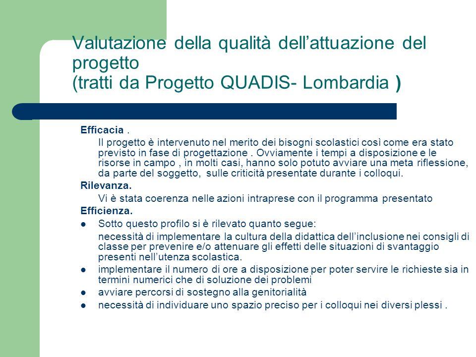 Valutazione della qualità dell'attuazione del progetto (tratti da Progetto QUADIS- Lombardia ) Efficacia. Il progetto è intervenuto nel merito dei bis