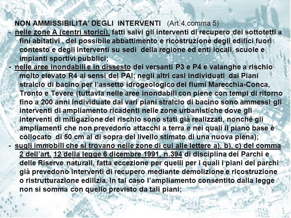 NON AMMISSIBILITA' DEGLI INTERVENTI (Art.4,comma 5) - nelle zone A (centri storici), fatti salvi gli interventi di recupero dei sottotetti a fini abit