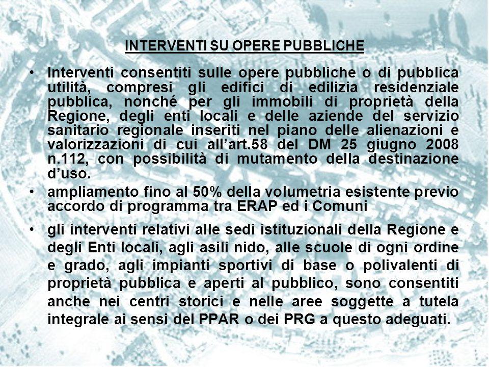 INTERVENTI SU OPERE PUBBLICHE Interventi consentiti sulle opere pubbliche o di pubblica utilità, compresi gli edifici di edilizia residenziale pubblic