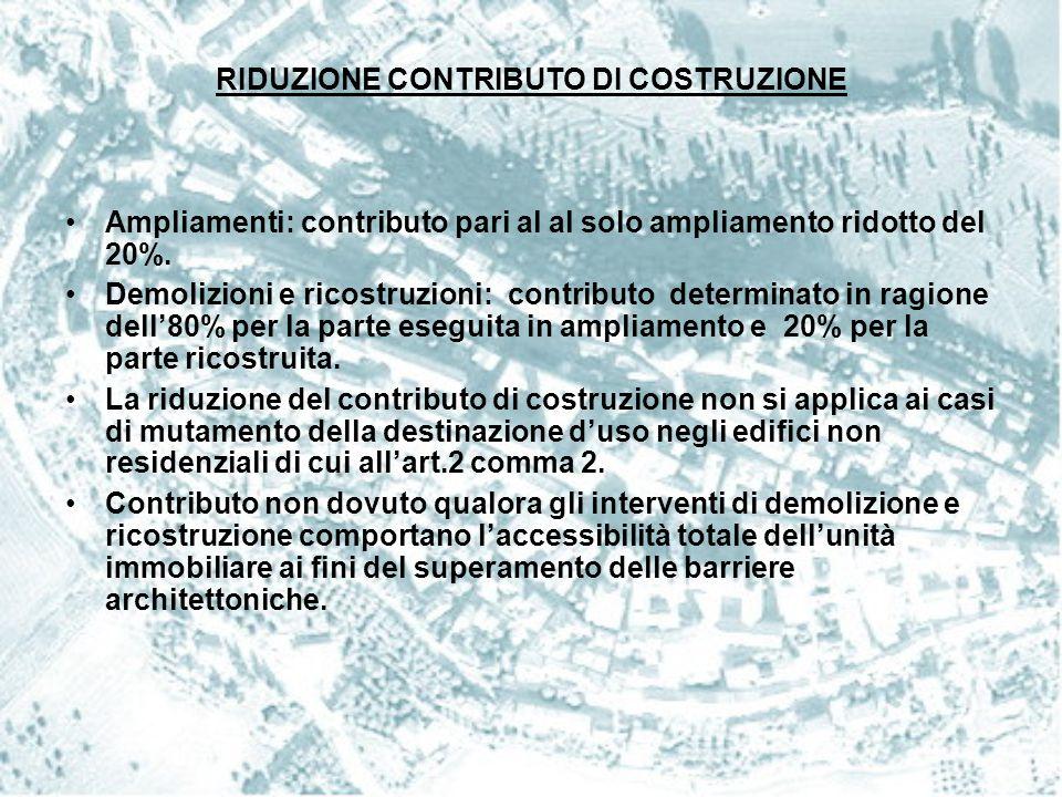 Ampliamenti: contributo pari al al solo ampliamento ridotto del 20%. Demolizioni e ricostruzioni: contributo determinato in ragione dell'80% per la pa