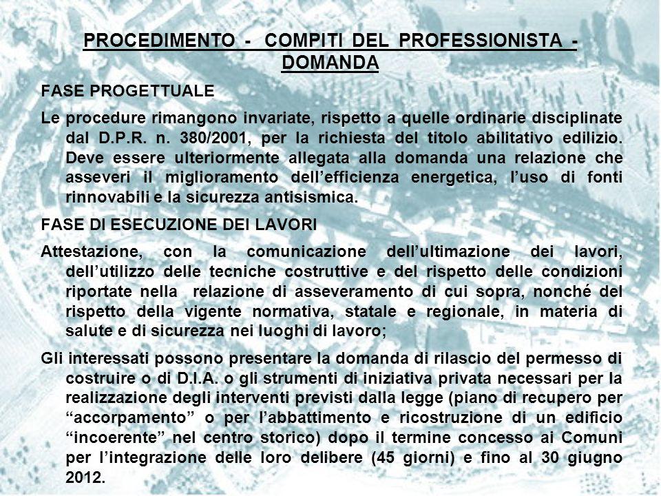 PROCEDIMENTO - COMPITI DEL PROFESSIONISTA - DOMANDA FASE PROGETTUALE Le procedure rimangono invariate, rispetto a quelle ordinarie disciplinate dal D.