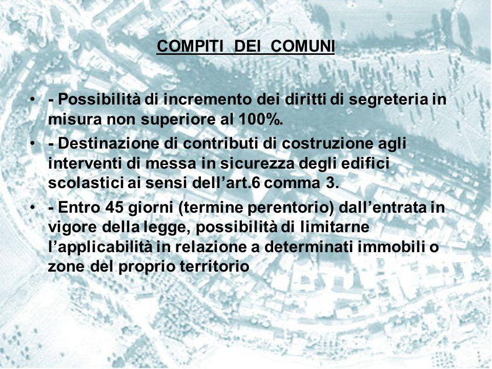 COMPITI DEI COMUNI - Possibilità di incremento dei diritti di segreteria in misura non superiore al 100%. - Destinazione di contributi di costruzione