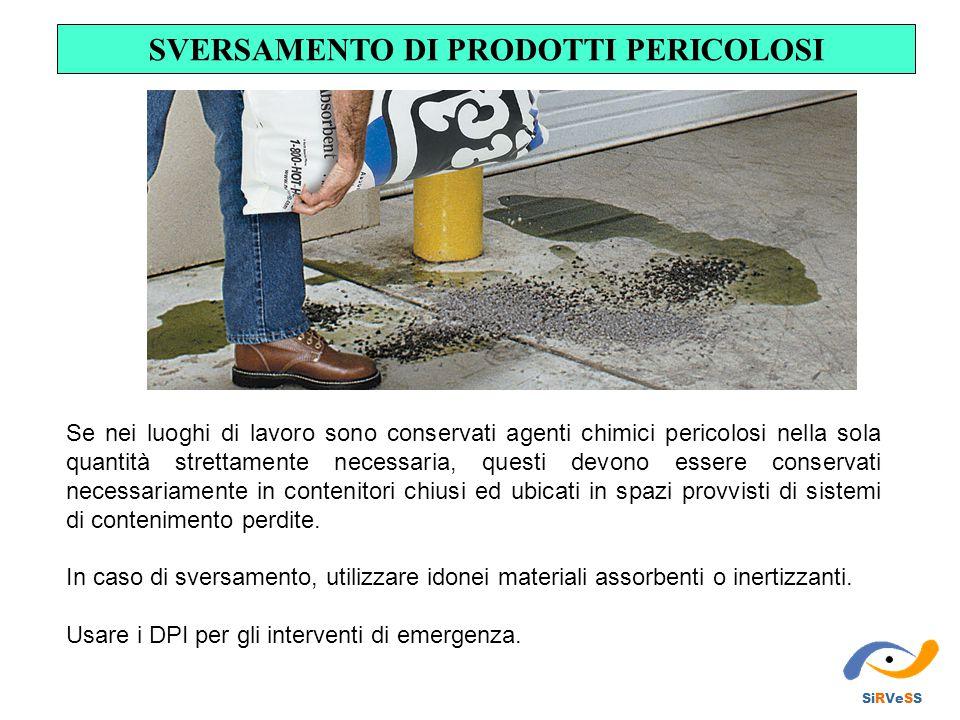 SVERSAMENTO DI PRODOTTI PERICOLOSI SiRVeSS Se nei luoghi di lavoro sono conservati agenti chimici pericolosi nella sola quantità strettamente necessar