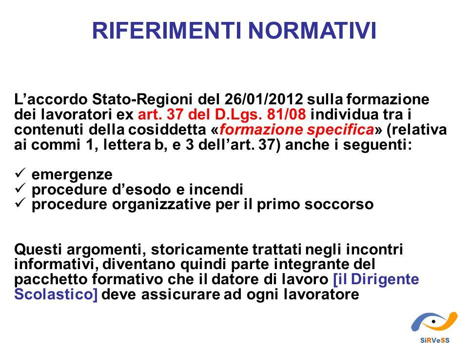 L'accordo Stato-Regioni del 26/01/2012 sulla formazione dei lavoratori ex art. 37 del D.Lgs. 81/08 individua tra i contenuti della cosiddetta «formazi