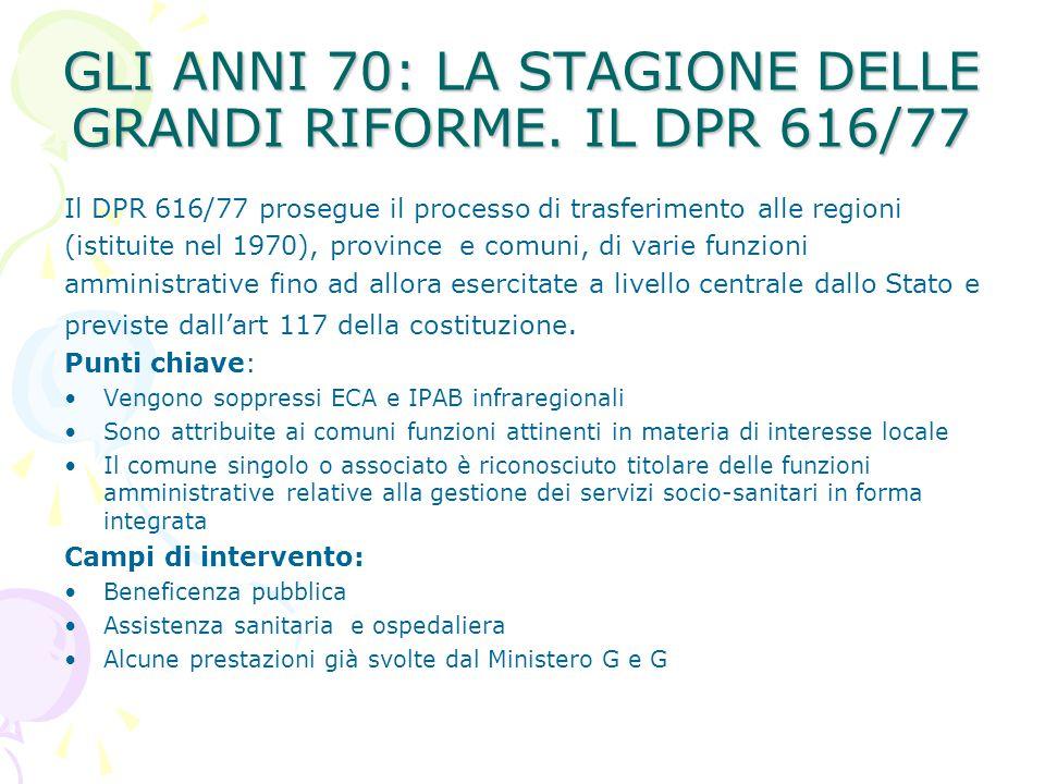 GLI ANNI 70: LA STAGIONE DELLE GRANDI RIFORME. IL DPR 616/77 Il DPR 616/77 prosegue il processo di trasferimento alle regioni (istituite nel 1970), pr