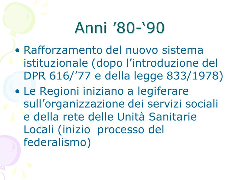 Anni '80-'90 Rafforzamento del nuovo sistema istituzionale (dopo l'introduzione del DPR 616/'77 e della legge 833/1978) Le Regioni iniziano a legifera