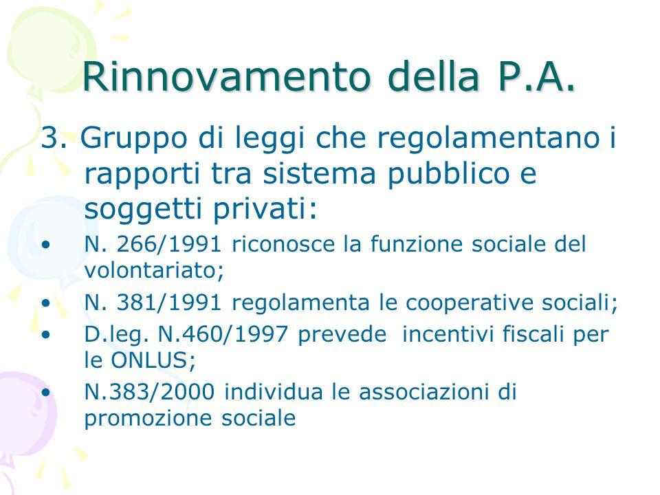 Rinnovamento della P.A. 3. Gruppo di leggi che regolamentano i rapporti tra sistema pubblico e soggetti privati: N. 266/1991 riconosce la funzione soc