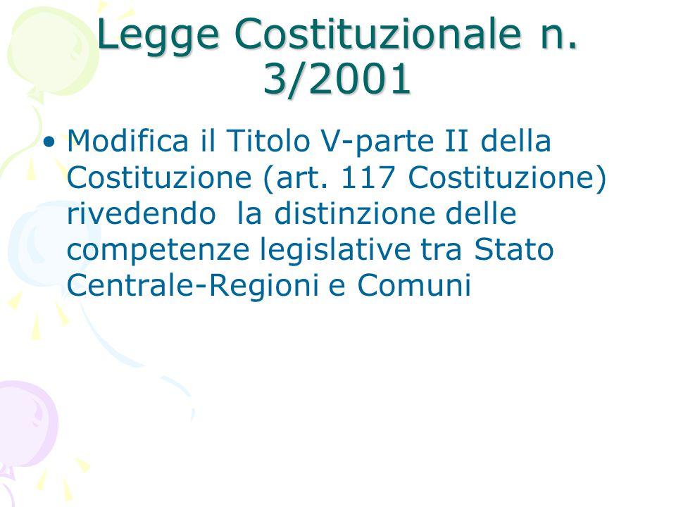 Legge Costituzionale n. 3/2001 Modifica il Titolo V-parte II della Costituzione (art. 117 Costituzione) rivedendo la distinzione delle competenze legi