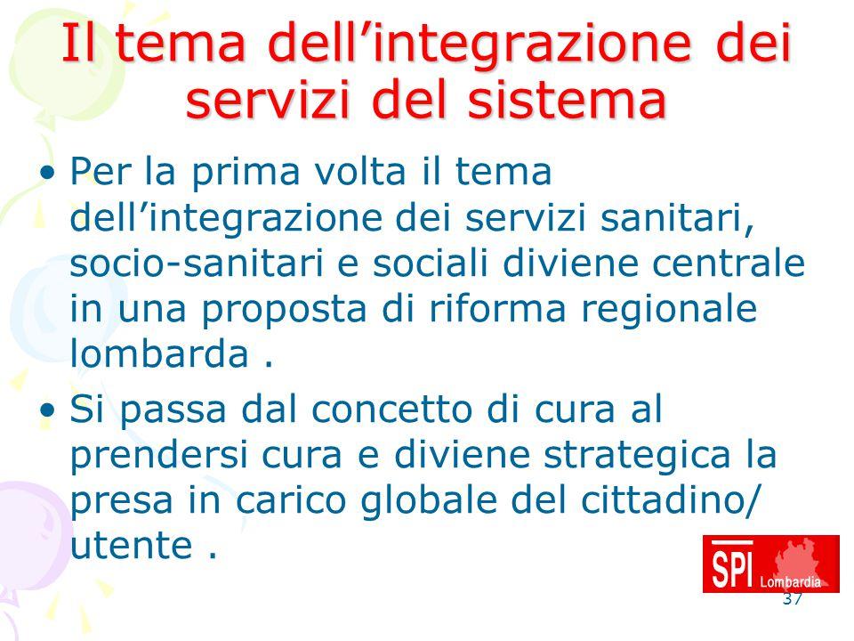37 Il tema dell'integrazione dei servizi del sistema Per la prima volta il tema dell'integrazione dei servizi sanitari, socio-sanitari e sociali divie