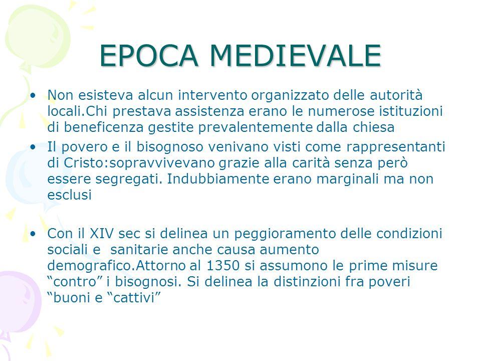 EPOCA MEDIEVALE Non esisteva alcun intervento organizzato delle autorità locali.Chi prestava assistenza erano le numerose istituzioni di beneficenza g