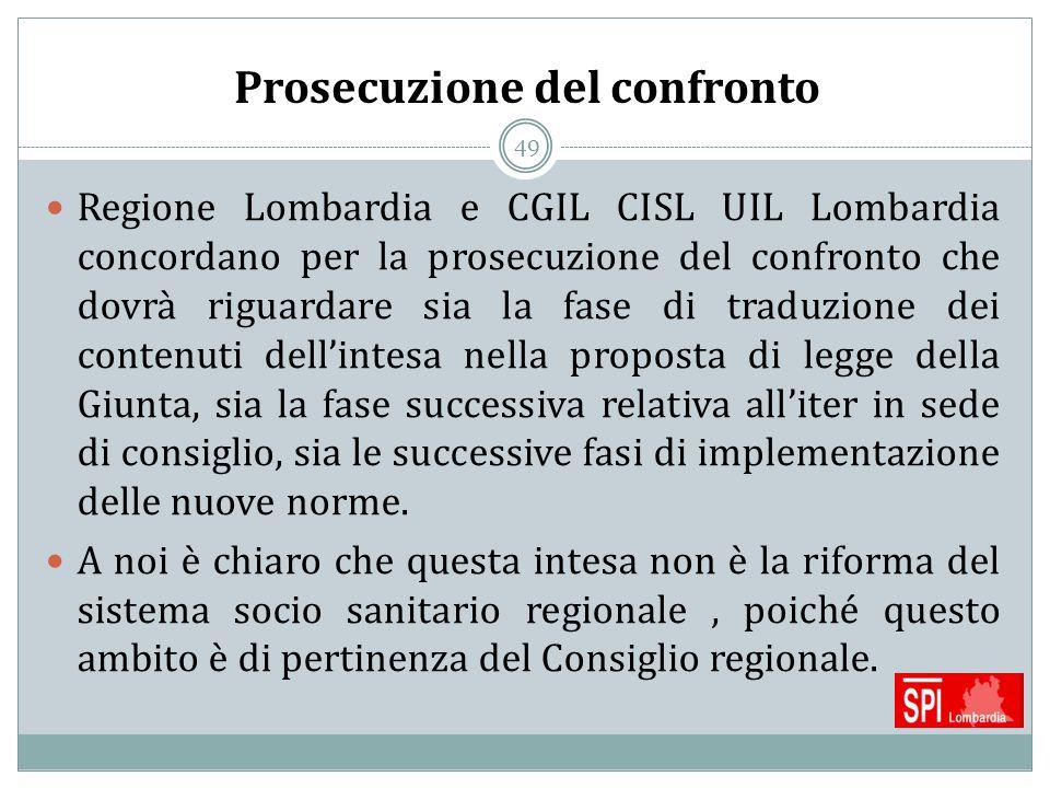49 Prosecuzione del confronto Regione Lombardia e CGIL CISL UIL Lombardia concordano per la prosecuzione del confronto che dovrà riguardare sia la fas