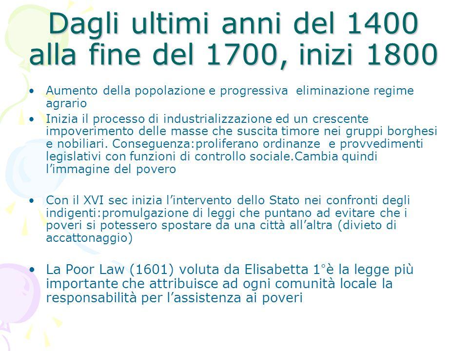 Dagli ultimi anni del 1400 alla fine del 1700, inizi 1800 Aumento della popolazione e progressiva eliminazione regime agrario Inizia il processo di in