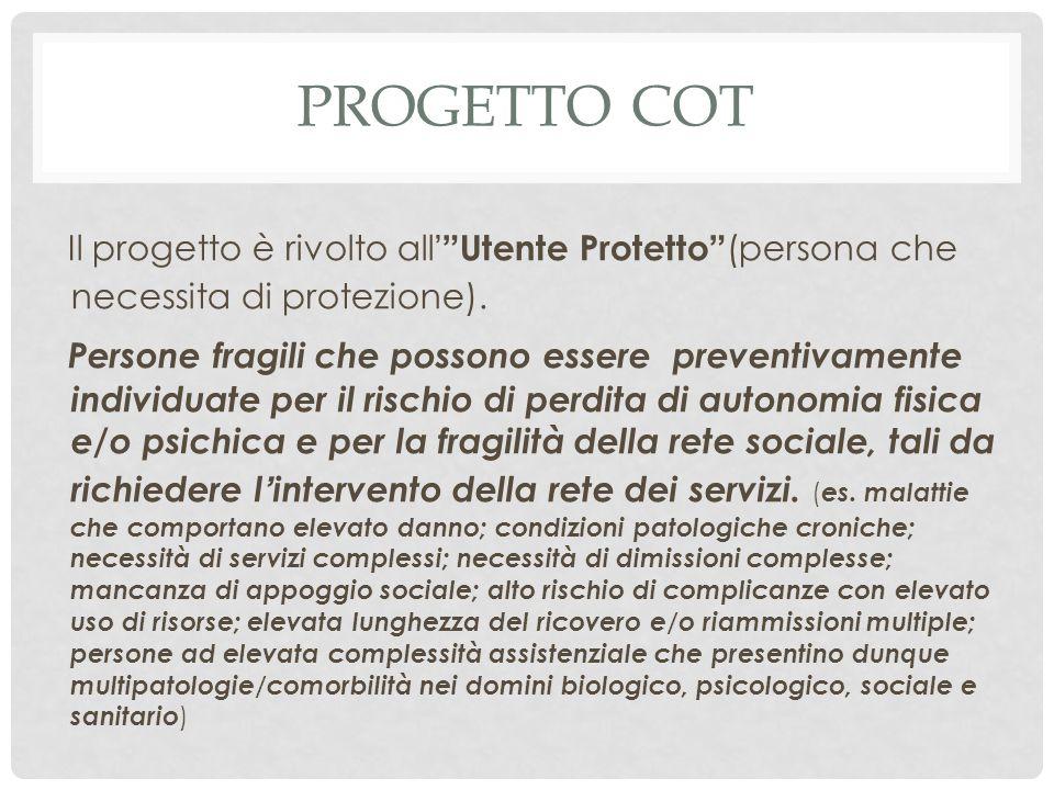 PROGETTO COT Il progetto è rivolto all ' Utente Protetto (persona che necessita di protezione).