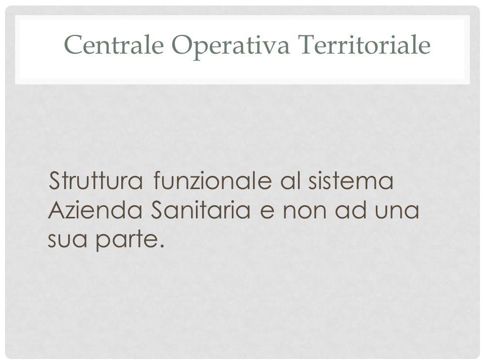 Centrale Operativa Territoriale Struttura funzionale al sistema Azienda Sanitaria e non ad una sua parte.