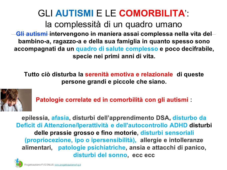 GLI AUTISMI E LE COMORBILITA ': la complessità di un quadro umano Gli autismi intervengono in maniera assai complessa nella vita del bambino-a, ragazzo-a e della sua famiglia in quanto spesso sono accompagnati da un quadro di salute complesso e poco decifrabile, specie nei primi anni di vita.