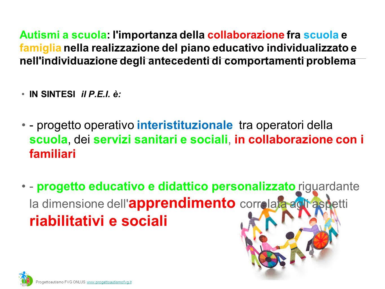 Autismi a scuola: l importanza della collaborazione fra scuola e famiglia nella realizzazione del piano educativo individualizzato e nell individuazione degli antecedenti di comportamenti problema IN SINTESI il P.E.I.