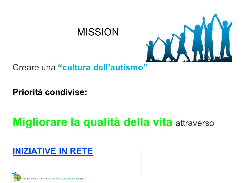 MISSION Creare una cultura dell'autismo Priorità condivise: Migliorare la qualità della vita attraverso INIZIATIVE IN RETE Progettoautismo FVG ONLUS www.progettoautismofvg.itwww.progettoautismofvg.it