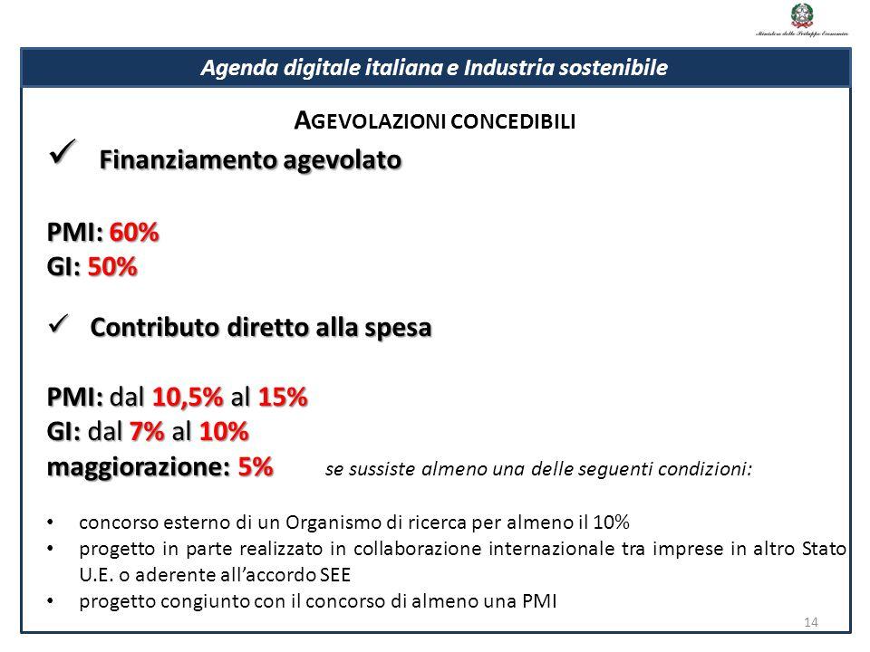 Finanziamento agevolato Finanziamento agevolato PMI: 60% GI: 50% Contributo diretto alla spesa Contributo diretto alla spesa PMI: dal 10,5% al 15% GI: