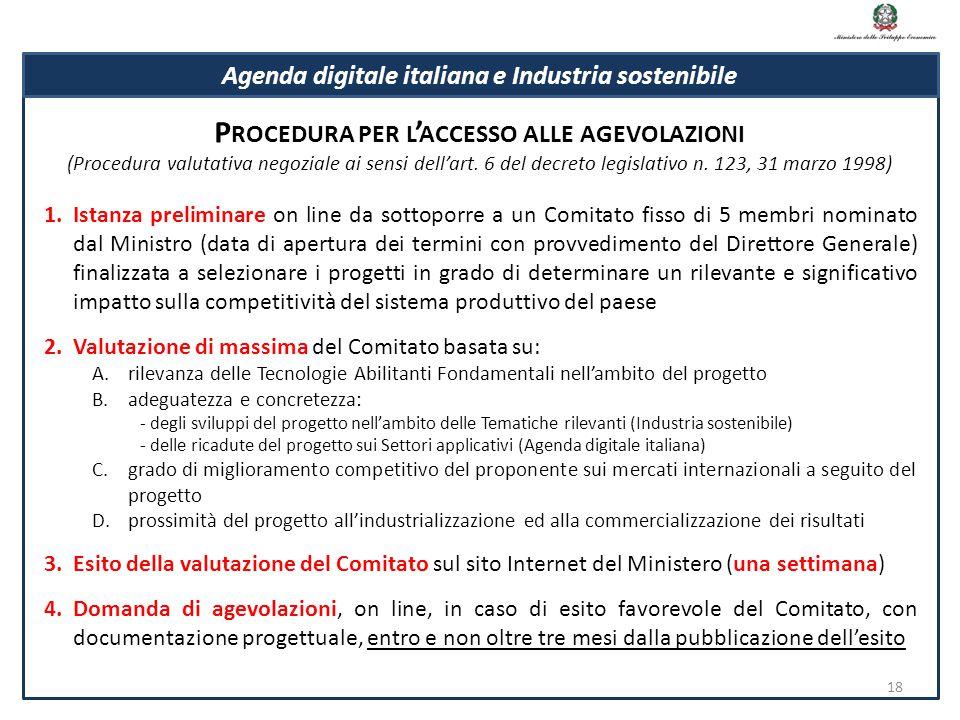 1.Istanza preliminare on line da sottoporre a un Comitato fisso di 5 membri nominato dal Ministro (data di apertura dei termini con provvedimento del