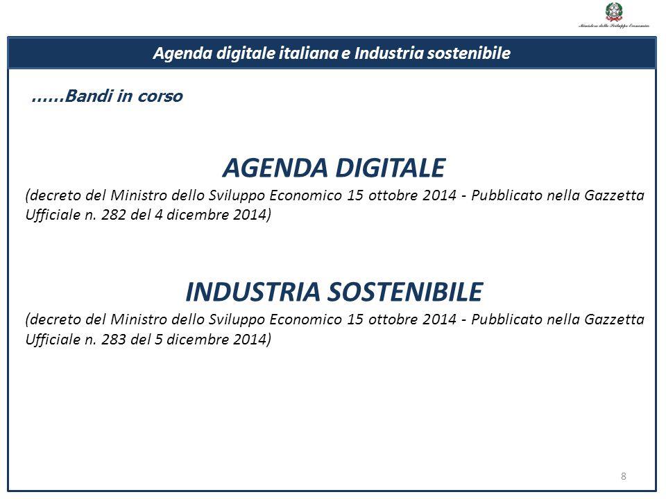 8 AGENDA DIGITALE (decreto del Ministro dello Sviluppo Economico 15 ottobre 2014 - Pubblicato nella Gazzetta Ufficiale n. 282 del 4 dicembre 2014) IND