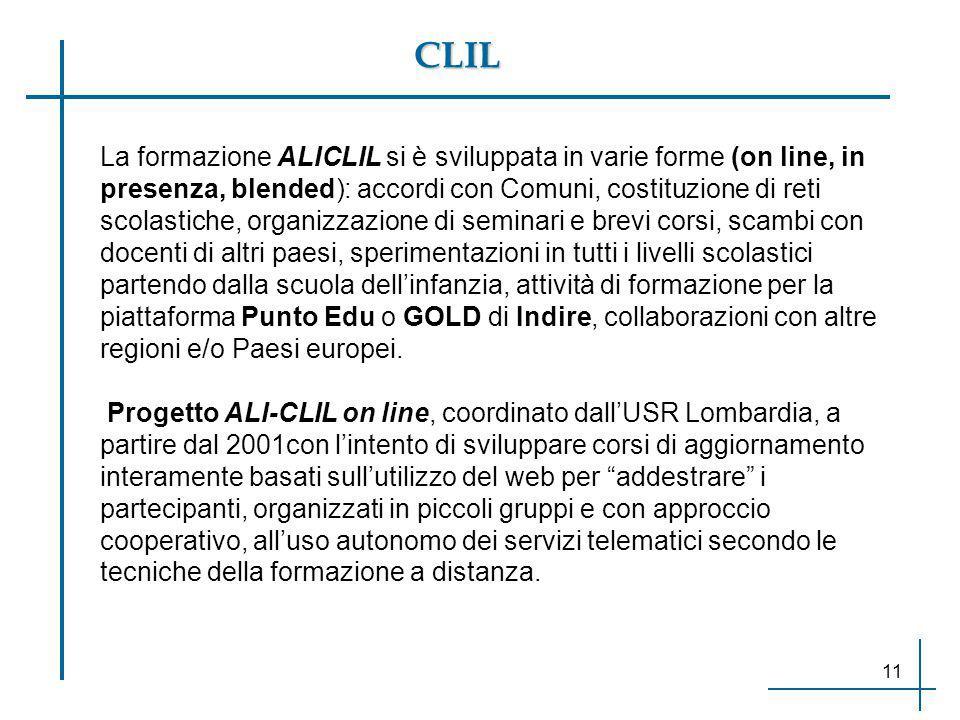 CLIL La formazione ALICLIL si è sviluppata in varie forme (on line, in presenza, blended): accordi con Comuni, costituzione di reti scolastiche, organ