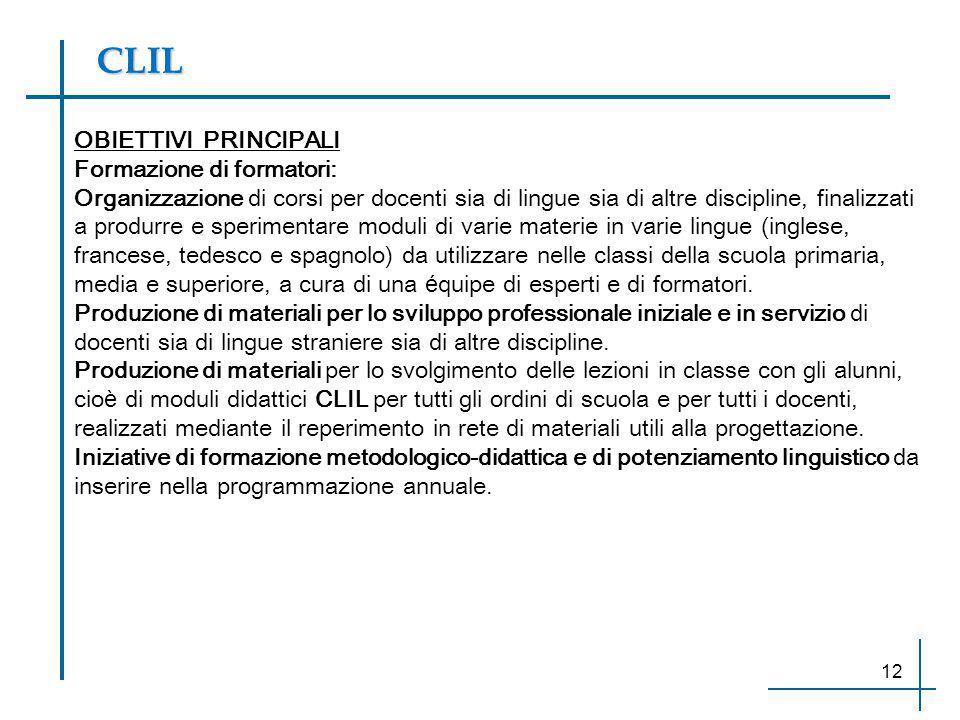 CLIL OBIETTIVI PRINCIPALI Formazione di formatori: Organizzazione di corsi per docenti sia di lingue sia di altre discipline, finalizzati a produrre e