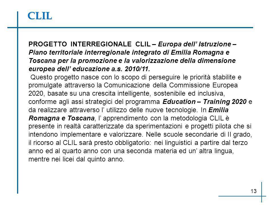 CLIL PROGETTO INTERREGIONALE CLIL – Europa dell' Istruzione – Piano territoriale interregionale integrato di Emilia Romagna e Toscana per la promozion