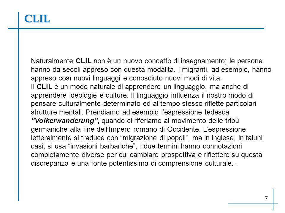 Naturalmente CLIL non è un nuovo concetto di insegnamento; le persone hanno da secoli appreso con questa modalità. I migranti, ad esempio, hanno appre